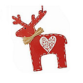 Red Nordic Reindeer Christmas Tree Decoration