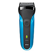 Braun 310 Men's Electric Rechargeable Shaver with 2 Foil Heads in Blue