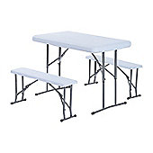 Outsunny 3PC Folding Table Stool Set Outdoor Party BBQ w/ 1 Table 2 Bench