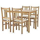 Cheltenham Table and 4 Chair Set, Oak-effect and Cream