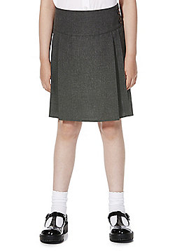 F&F School 2 Pack of Girls Permanent Pleat Button Detail Skirts - Grey