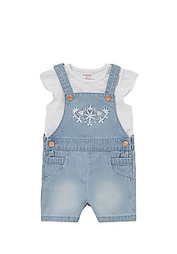 F&F Embroidered Chambray Playsuit and T-Shirt Set - Blue & White