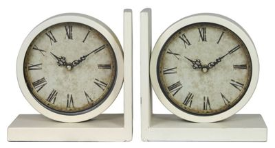Set Of 2 Clock Bookends Ivory Old World Style Home Decor