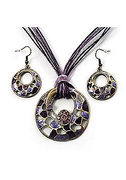 Purple Open-Cut Disk Enamel Organza Cord Necklace & Drop Earrings Set (Bronze Tone)
