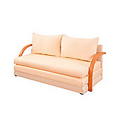 Comfy Living Fold Out Sofa Bed with Wooden Arms in Cream