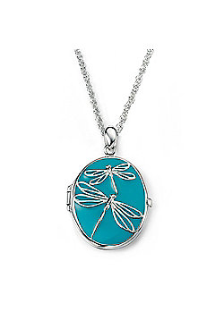 Sterling Silver Turquoise Dragonfly Locket Pendant