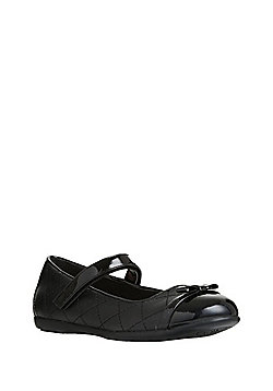 F&F Patent Toecap Quilted Ballerina School Shoes - Black