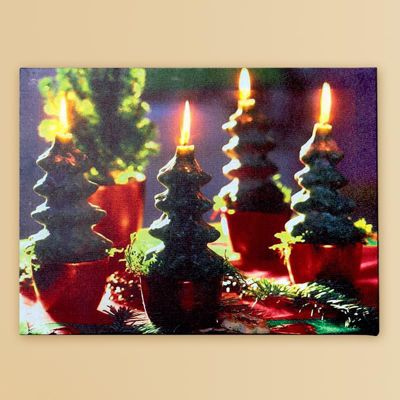 Premier Decorations - 40cm x 30cm Christmas Canvas with LEDs - Christmas Tree Candles