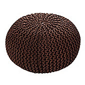 EHC Braided Hand Knitted Round Foot Stool Pouffe, Choclate