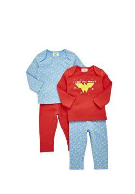 DC Comics 2 Pack of Wonder Woman Slogan Pyjamas Blue/Red 3-6 months