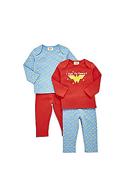DC Comics 2 Pack of Wonder Woman Slogan Pyjamas - Blue/Red