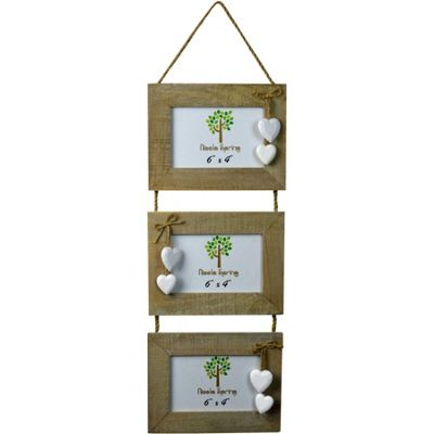 Triple Driftwood 3 Photo Hanging Picture Frame With White Hearts - 6 x 4