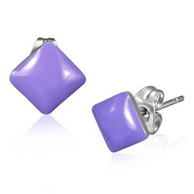 Urban Male Purple Resin & Stainless Steel Men's Square Stud Earrings 7mm