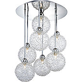 Stylish 7-Rod Chrome Ceiling Light with Unique Wire Mesh Shades