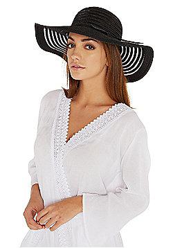 F&F Foldable Striped Floppy Hat - Black
