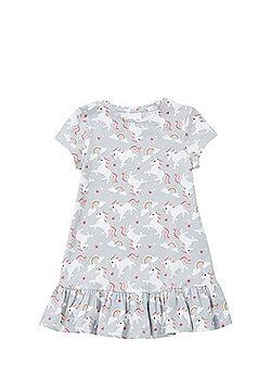 F&F Unicorn Frill Hem Dress - Grey & Multi