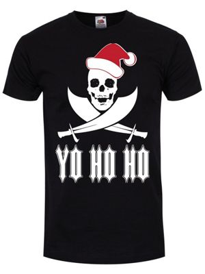 Yo Ho Ho Santa Skull Men's T-shirt, Black.