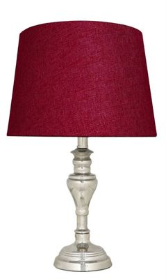 Stenham Chrome Table Lamp With 11 Inch Red Linen Shade