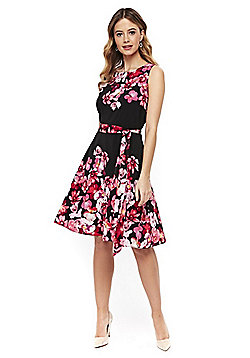 Wallis Floral Print Fit And Flare Dress - Black