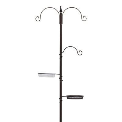 1.9m Metal Garden Bird Feeding Station with Hooks, Water & Feed Bowls