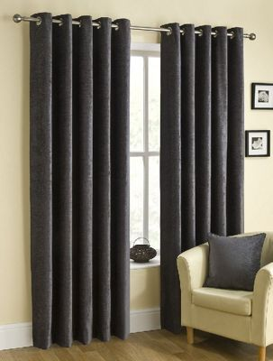 Puerto Ready Made Eyelet Curtains Grey 66x90 Inches
