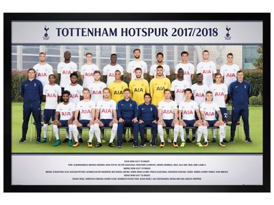 Tottenham Hotspur FC Black Wooden Framed Team Photo 17-18 Poster