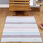 Homescapes Cotton Chenille Striped Rug Blue Beige Grey Natural, 110 x 170 cm