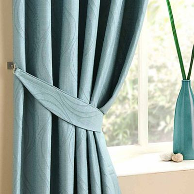 Homescapes Duck Egg Blue Curtains Tie Backs Pair Swirl Design