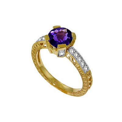 QP Jewellers Diamond & Amethyst Fantasy Ring in 14K Gold - Size I