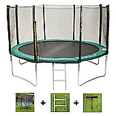 Up and About 14ft Stormpower Green Trampoline Package with Free Ladder, Weather Cover and Building Tool