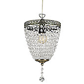 Traditional Antique Brass Pendant Shade with Clear Acrylic Beads