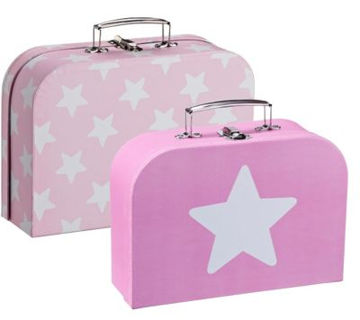 Kids Concept Sweden Set of 2 Pink Star Suitcases Dolls Clothes Storage Box