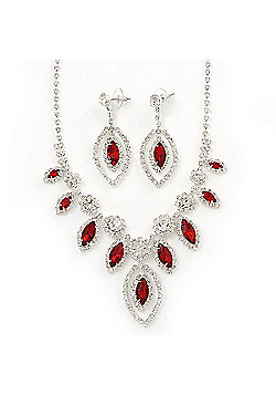 Red Clear Swarovski Crystal 'Leaf' Necklace And Drop Earring Set In Silver Plated Metal