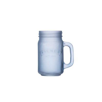 Kilner Frosted Handled Jar Mug, 400ml (Blue)