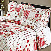 Patchwork Hearts Quilted Throw - Double