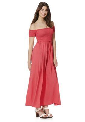 Stella Morgan Bardot Smock Maxi Dress 8 Coral