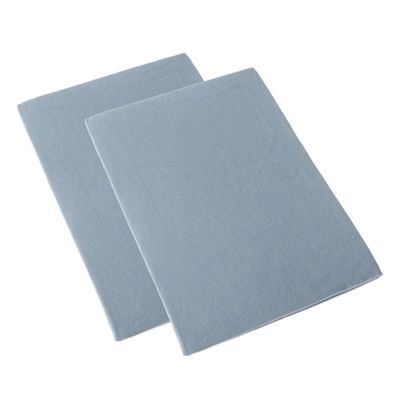 Homescapes Blue Brushed Cotton Fitted Pram Sheet Pair 100% Cotton, 30 x 73 cm