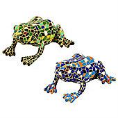 Blue & Green Mosaic Frog Polyresin Garden or Home Ornament Set