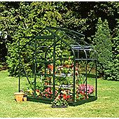 Halls 6x4 Supreme Greenframe Greenhouse + Green Base-frame - Horticultural Glass