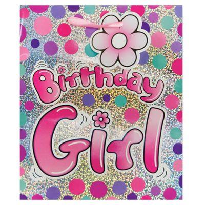 Pink Birthday Girl Holo bag - med
