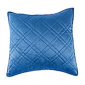 Homescapes Luxury Navy Blue Quilted Velvet Cushion Cover Geometric 'Paragon Diamond' Pattern, 45 x 45 cm