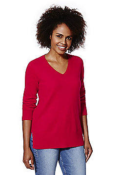 F&F Cashmere V-Neck Jumper - Red