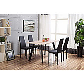 Chester Wooden Dining Set With 4 Black Montero Chairs
