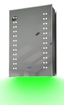 Clock Cabinet With LED Under Lighting, Demister, Sensor & Shaver Socket k382g