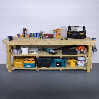 Wooden Work Bench - Pressure Treated - With Shelf - 5ft