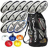 Gilbert Rugby Club Coaching Pack, 12 balls, size 3