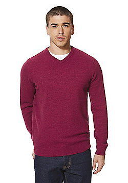 F&F Signature Lambswool V-Neck Jumper - Raspberry