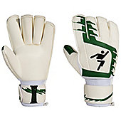 Precision Junior Classic Green Football Roll Finger Goalkeeper Gloves - White