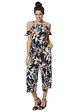 F&F Tropical Leaf Print Cold Shoulder Culotte Jumpsuit - Multi