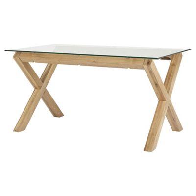 Hattrell Glass & Wood Cross Leg Table